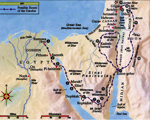 Fig 1.4. Route of Israel's Moses-led Exodus