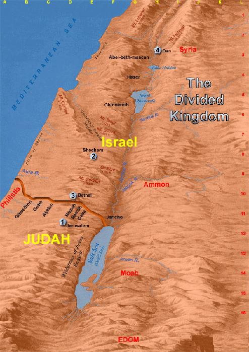 Fig 1.8. The separate Kingdoms of Judah and Israel
