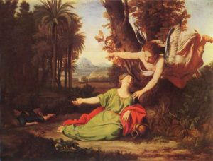 Hagar, Ishmael, and Gabriel in the Wilderness of Mecca. Nicolas Colombel (1682).