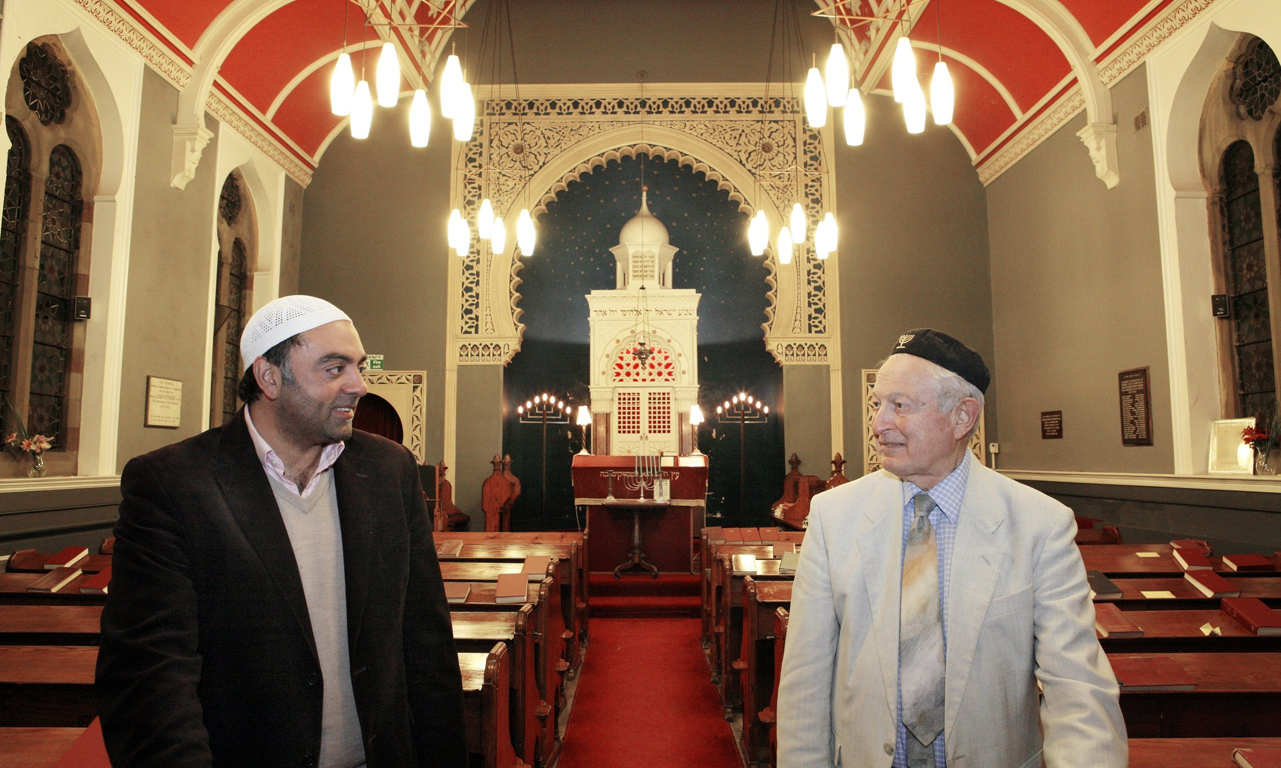 Bradford Reform Synagogue. Zulfi Karim, secretary of Bradford Council of Mosques, and Rudi Leavor, chairman of the synagogue. Photo: Gary Calton.